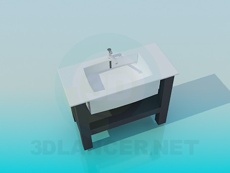 3d model Rectangular sink with stand - preview