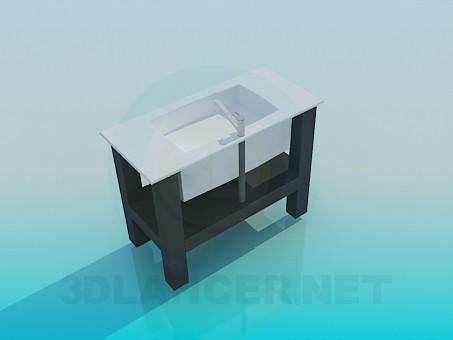 3d модель Прямоугольный рукомойник с подставкой – превью