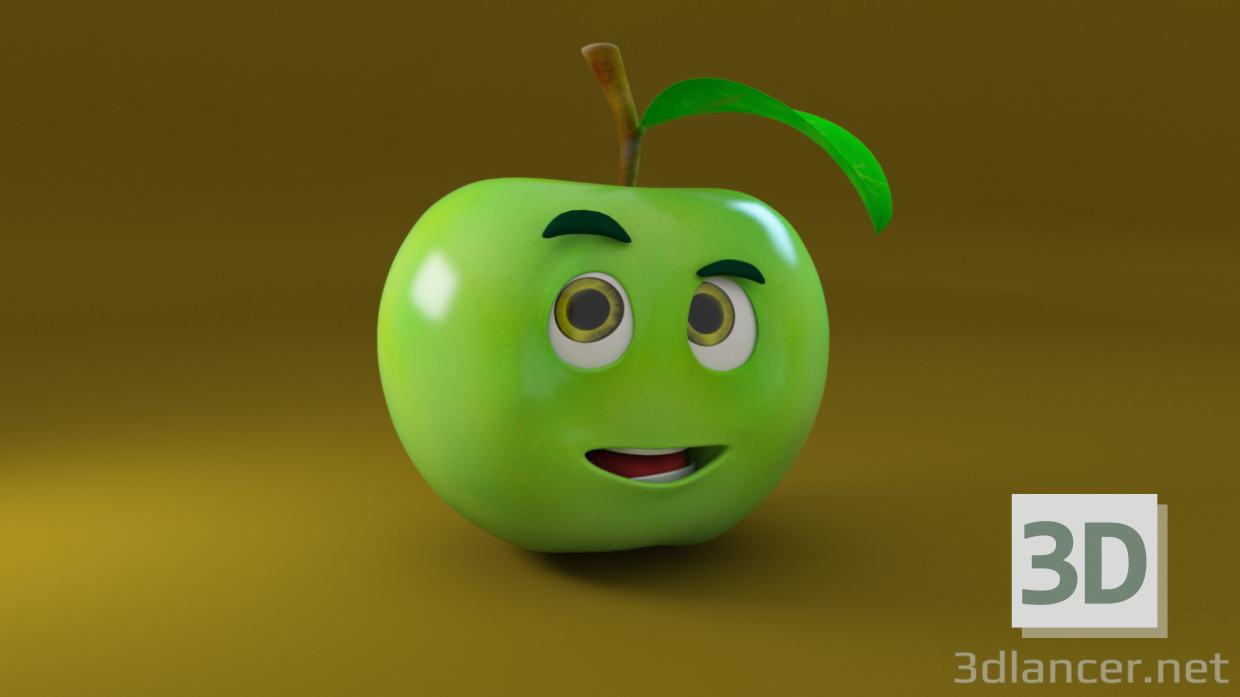 3d Apple model buy - render