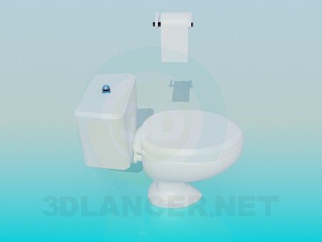 3d model Toilet with toilet paper - preview