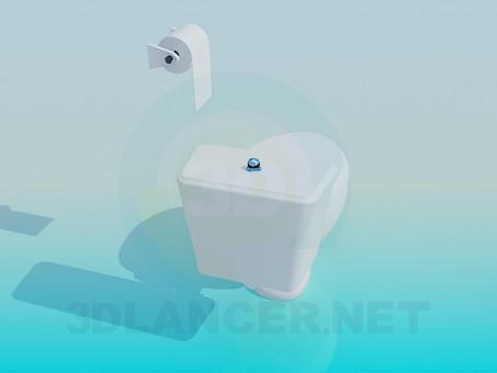 3d модель Унитаз с туалетной бумагой – превью