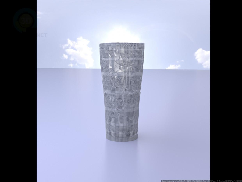 3d модель Ваза з візерунком листя – превью