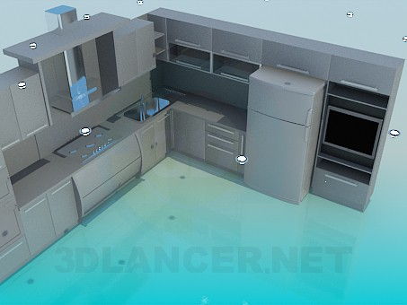 3d model Kitchen with TV - preview