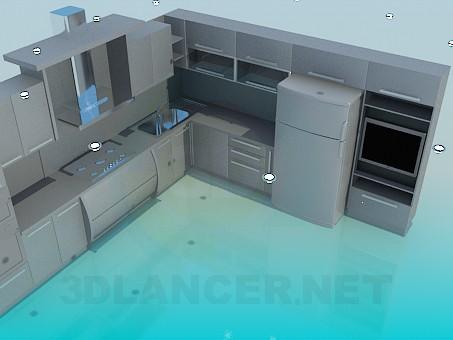 3d моделирование Кухня с телевизором модель скачать бесплатно