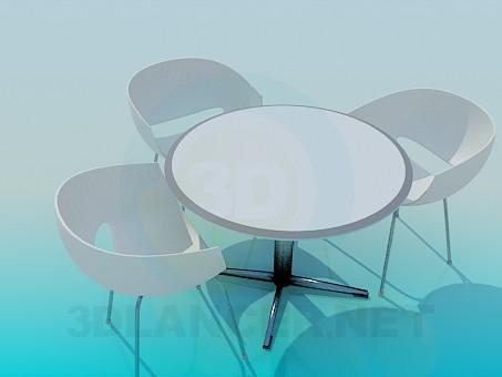 3d модель Стіл і стільці для кафе – превью