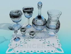 A set of cut glass