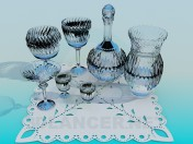 A set of cut glass
