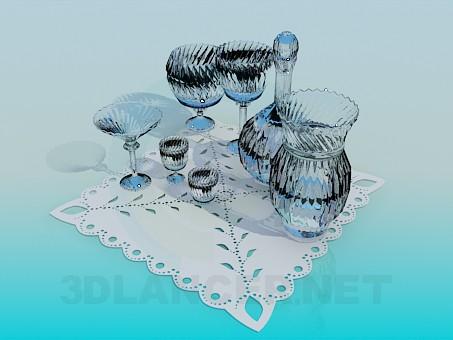 3d модель Набор хрустальной посуды – превью
