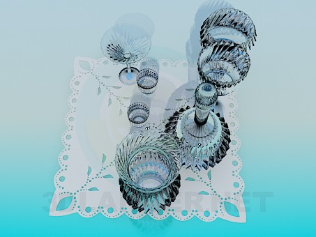 modelo 3D Un conjunto de vidrio de corte - escuchar