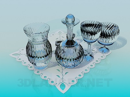 3d model A set of cut glass - preview