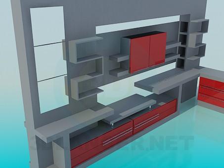 3d модель Стенка-стеллаж в гостинную – превью