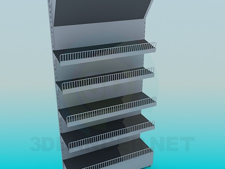 3d modeling Showcase with racks for products model free download