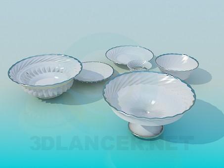 3d моделирование Набор фарфоровой посуды модель скачать бесплатно
