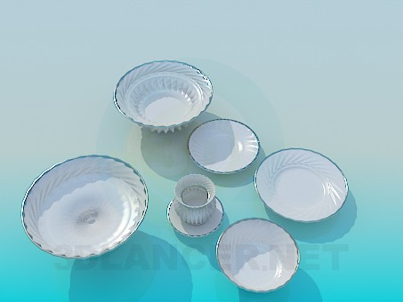 3d модель Набор фарфоровой посуды – превью
