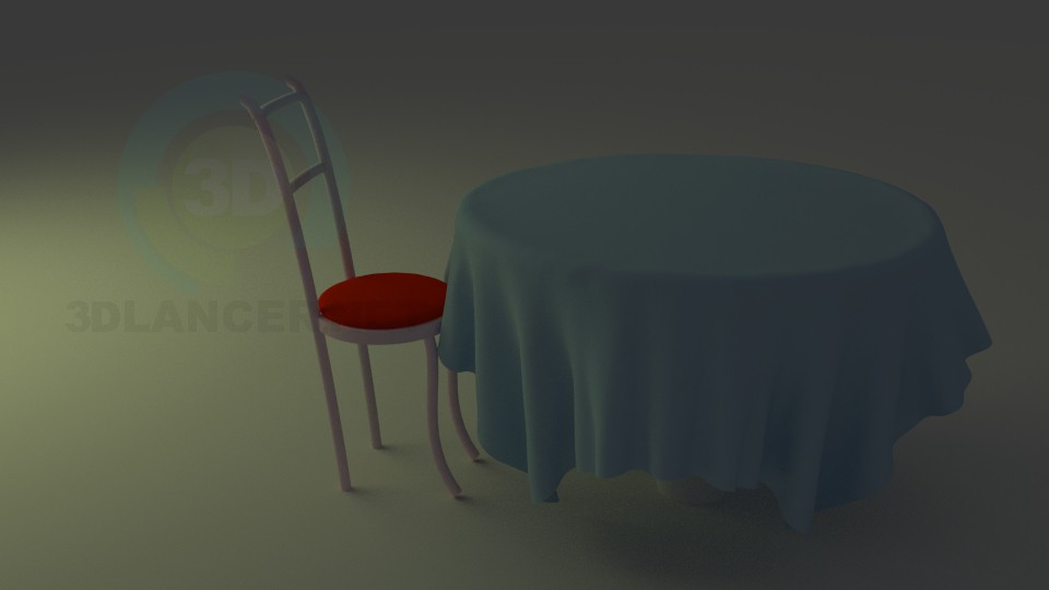 3d model Desk with Chair (Blender) - preview