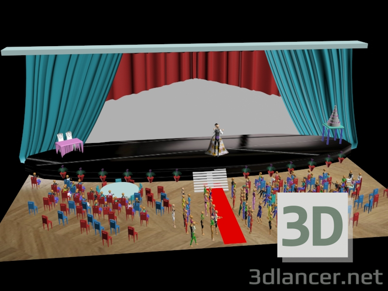 3d model Wedding hall, max(2016), Country- Free Download