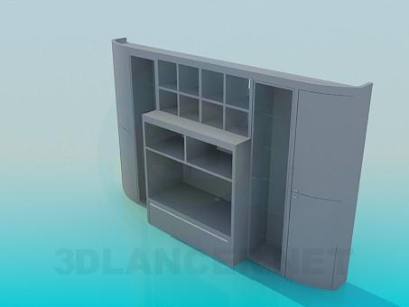 3d модель Симетрична стінка-шафа – превью