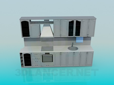 3d model Wall unit in the kitchen - preview