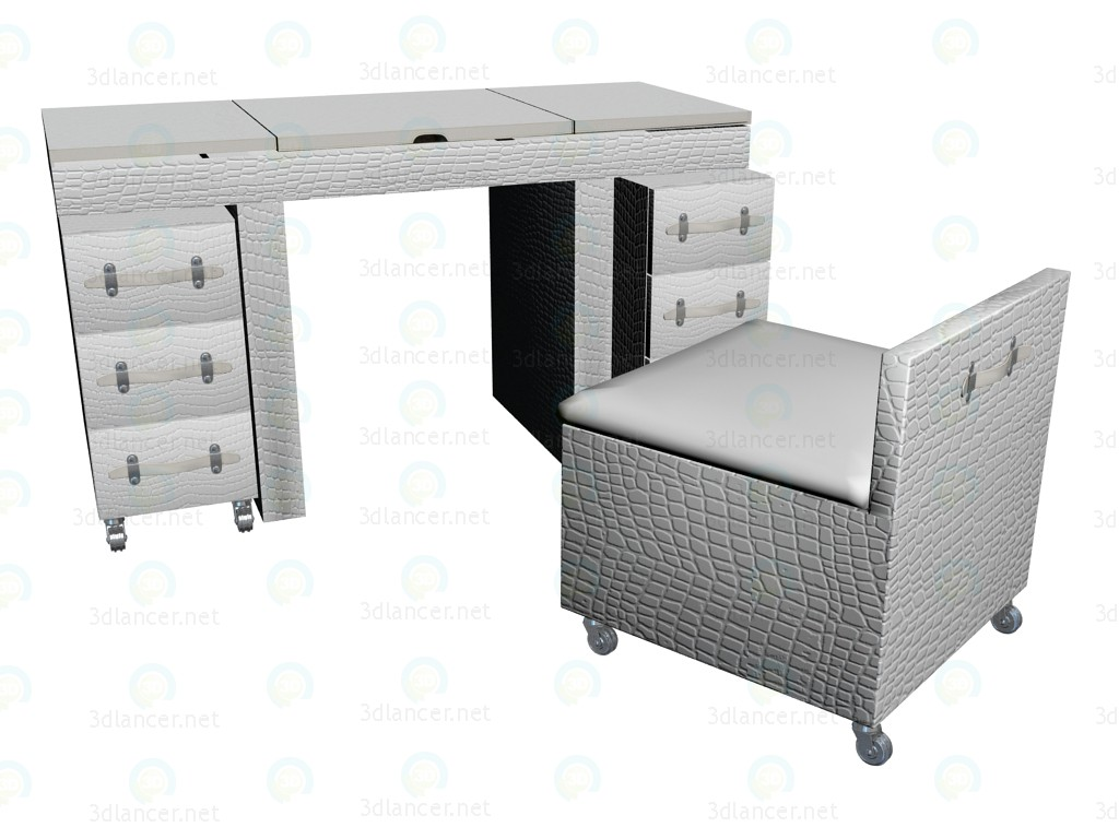 3d model Diva dressing table, white - preview