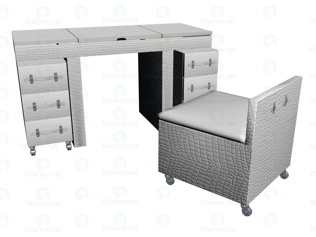 3d модель Стол туалетный Diva, белый – превью