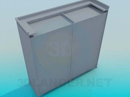 3d model Cabinet with sliding doors with mirrors - preview