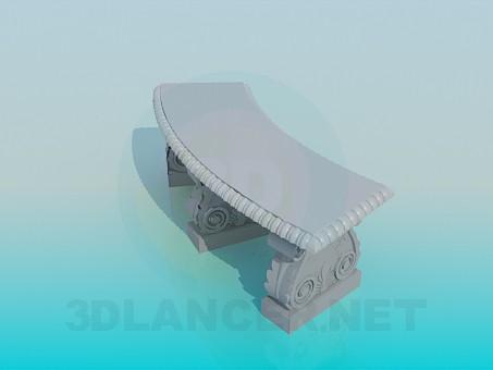 3d модель Изогнутая каменная скамья – превью