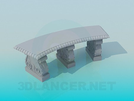 3d model Curved stone bench - preview