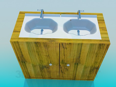3d model Double washbasin - preview