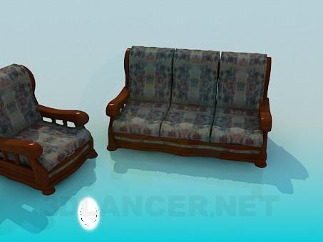 3d моделирование Кресло и диван модель скачать бесплатно