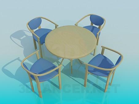 3d модель Столик со стульями в комплекте – превью