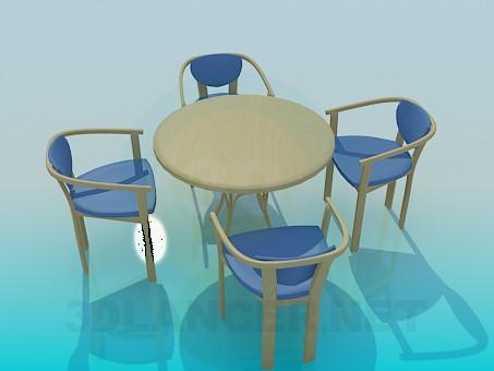modelo 3D Mesa con sillas - escuchar