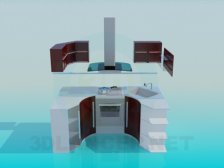 3d моделирование Компактная кухня модель скачать бесплатно