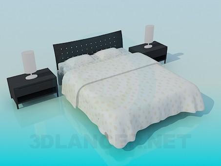 Çift Kişilik Yatak ile dolapları model ücretsiz 3D modelleme indir