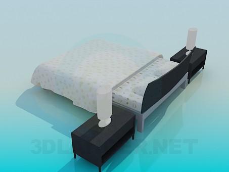 modelo 3D cama de matrimonio con armarios - escuchar