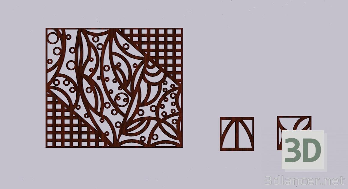 3d model Panel de madera calado - vista previa