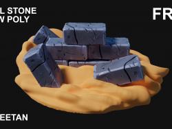 3D Çelik Taş - Düşük Poli