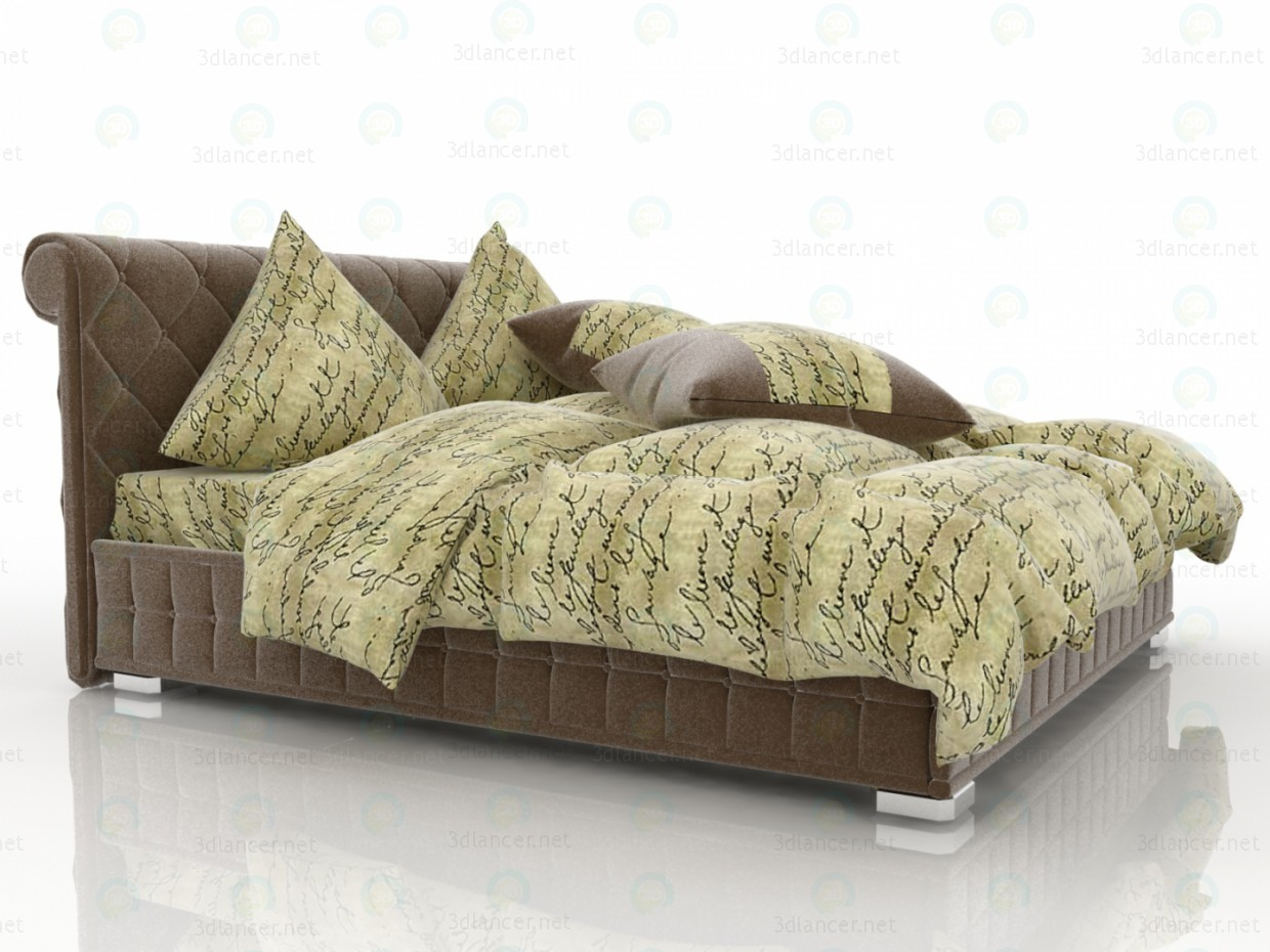 3d Velvet Brown Bed model buy - render