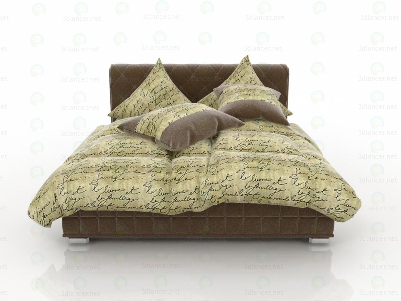 3d Velvet Brown Bed model buy - render