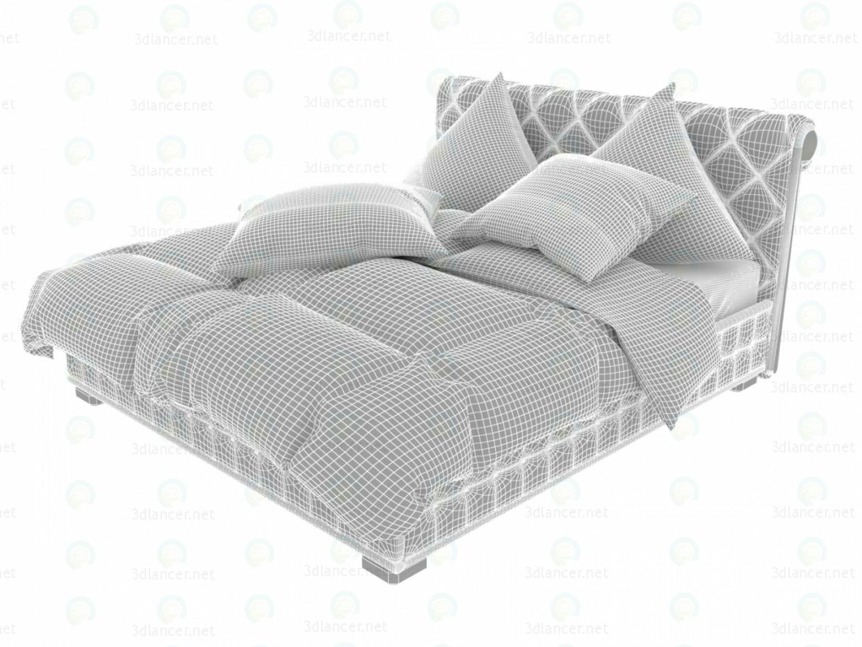 3d Бархатный Браун кровать модель купить - ракурс