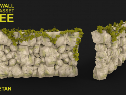 Düşük Poli ile 3D Kaya Duvar Kavramı