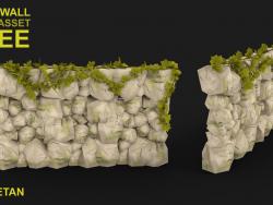 Концепция 3D Rock Wall с Low poly