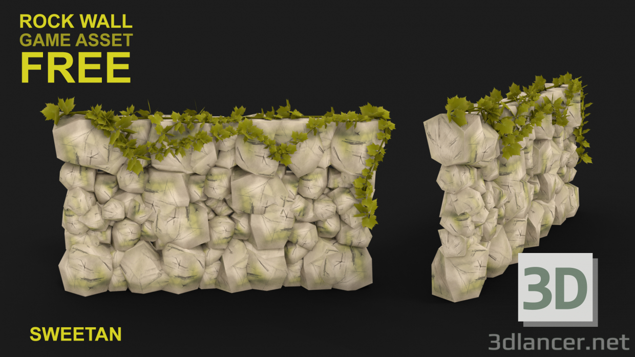 3d model 3D Rock Wall Concept with Low poly - preview