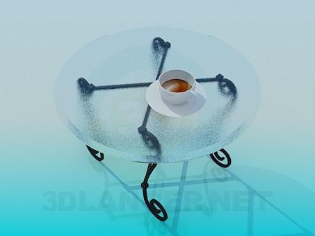 3d модель Кованный стол с круглой стеклянной столешницей – превью