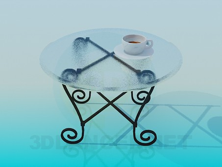 3d model Forged round table with glass top - preview