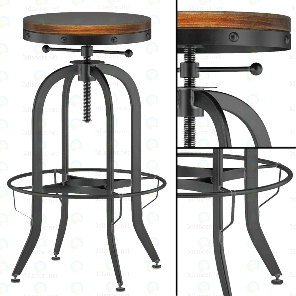 3d model industrial vintage bar stool black download to