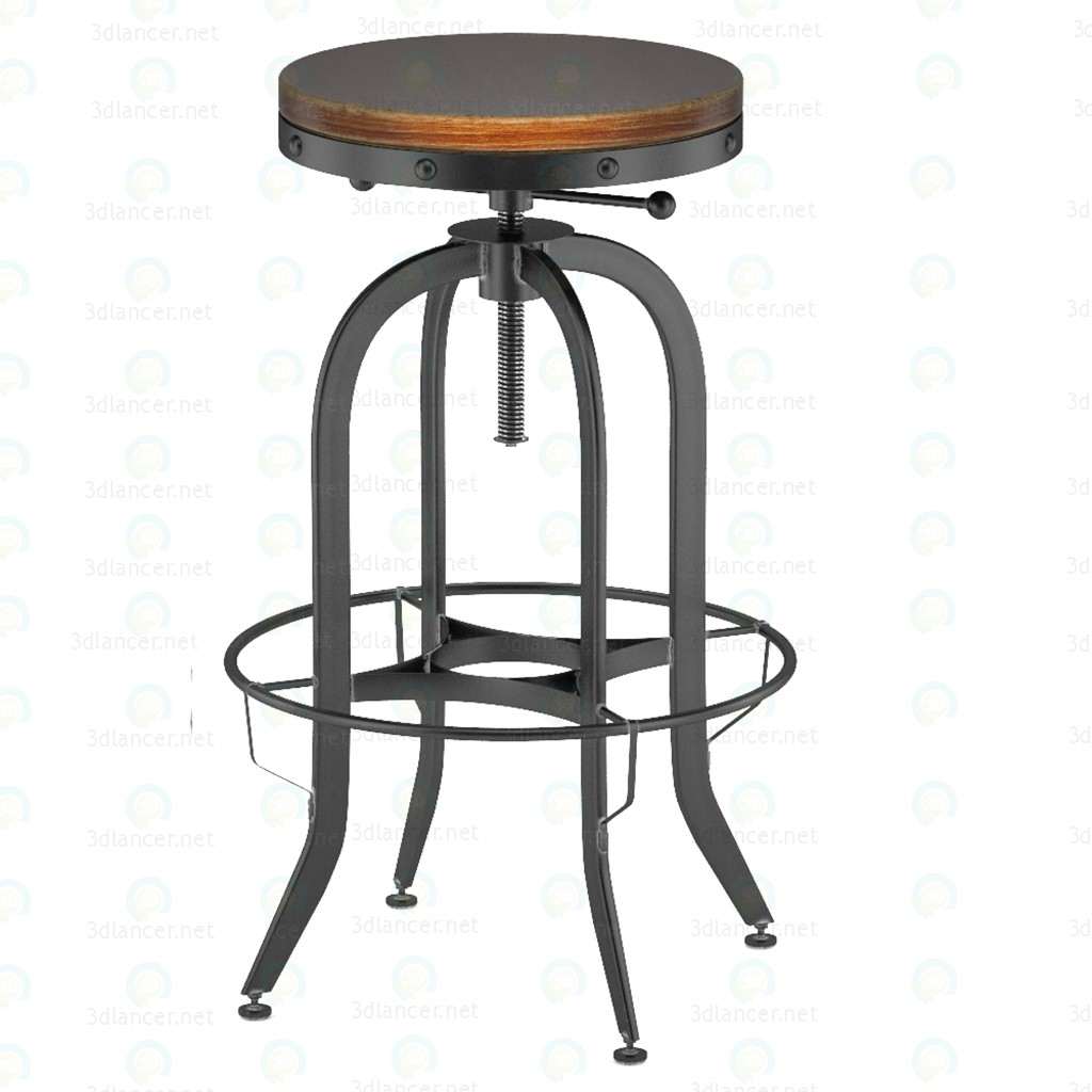 3d Industrial Vintage Bar Stool, Black model buy - render