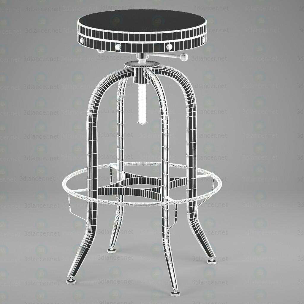 3d Промышленный Винтаж Барный стул, черный модель купить - ракурс