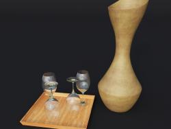 mestolo di legno e 4 bicchieri