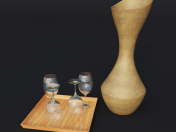 wooden ladle and 4 glasses