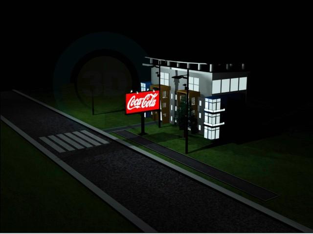 3d modeling Lighted building model free download